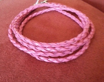 Plaited leather cord in pink leather wrap bracelet