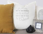 Cushion with phrase, hand...