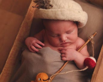 Felted Fishing Pole // Newborn Photography Prop //