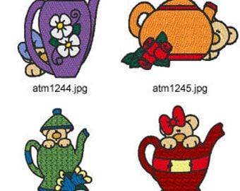 Teapot-Teddies ( 7 Machine Embroidery Designs from ATW ) XYZ17C