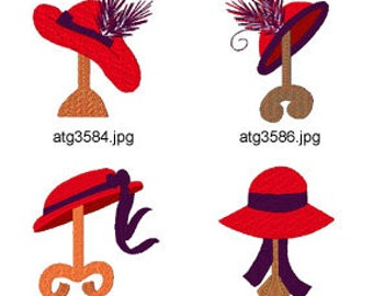 Red hats on Stands ( 8 Machine Embroidery Designs from ATW ) XYZ17E