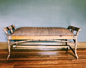 Vintage Rattan + Bamboo Bench