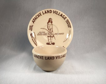 Apache Land Village Globe Arizona Restaurant Ware Cup and Saucer by Wallace China Los Angeles California 1954-55