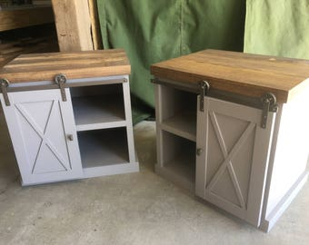 End Tables, Farm House Barn Door, Shabby Chic, Vintage Furniture