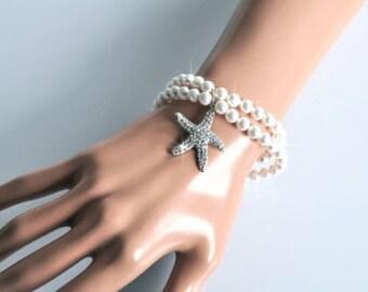 Handmade Pearl Starfish Bridal Bracelet, Beach or Destination Wedding (Pearl-384)