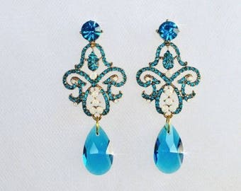 Blue Zircon Teal Crystal Rhinestone Chandelier Earrings (Sparkle-2499)