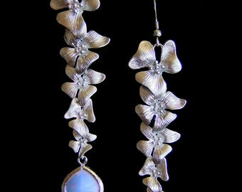 Opalescent Magnolias – Elegance Collection - Genuine Rhodium Plated Lavender Opalescent Crystal Magnolia Flower Cascading Earrings
