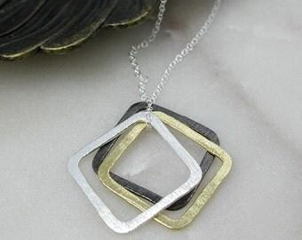 Clarabelle Square Pendant, Sterling Silver, Oxidised Silver, Yellow Gold, Geometric Pendant, Geometric Jewelry, Mixed Finish Pendant