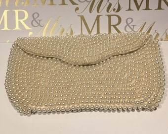 Beaded wedding or evening clutch, vintage, made in Japan, foldover top, pristine!