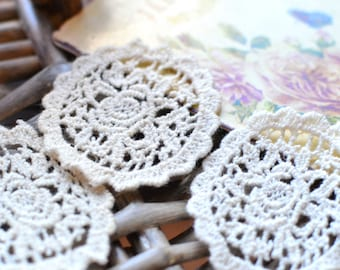 Crochet patches I Off white crochet patches I Embroidered patches I Patch I Scrapbooking Crochet I Patches I Crochet lace I Crochet applique