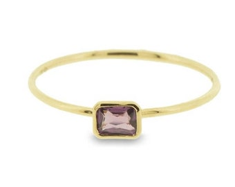 Very Fine Natural Pink Sapphire Baguette Ring in 18ct Rose Gold (3618014)