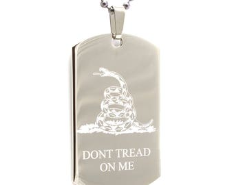 Personalized Stainless Steel Laser Etched Gadsden Flag Dont Tread On Me Necklace