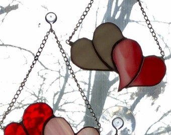 Stained Glass Valentine's Day Twin Hearts of Love Suncatcher By Sparkle Stained Glass