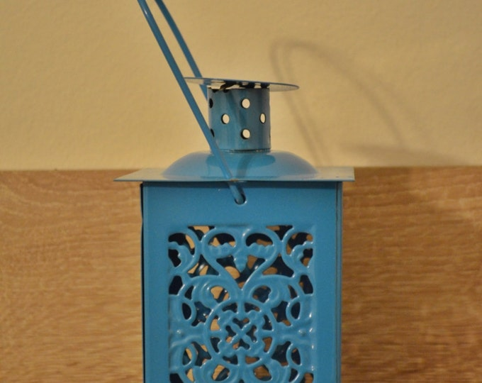 10%OFF Small vintage blue Moroccan metallic lantern / lanterns