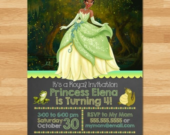 Princess and the Frog Invitation - Chalkboard - Frog Princess Invite - Disney Princess Invite - Princess Tiana - Tiana Birthday Party Favors