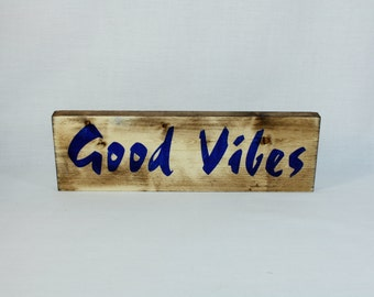 GOOD VIBES Positive Quotes, Positive Sayings, Namaste Meditate Yoga Stress Free Reclaimed Wood, Mothers Day gifts under 25 dollars