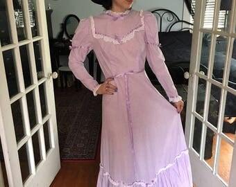 Vintage Purple Prairie Dress Made In Wales