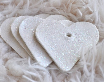 Glitter heart gift tags, white or silver glitter, set of 4, Glitter wedding decor, white glitter gift tags, glitter clay tags, silver tags