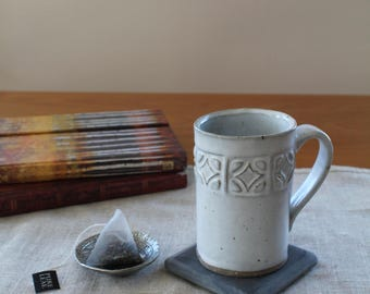 Stamped Mug // Ceramic Mug // White Rustic Mug // Patterned Mug // Tea Mug // Textured Coffee Cup // Rustic Pottery