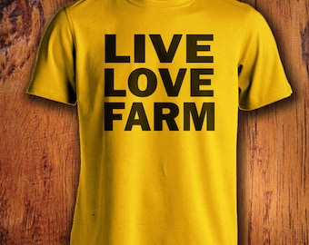 Men's Farm Tshirt, live love farm shirt, farmer shirt, farming shirt, shirt for farming, gift for him, christmas gift, stocking stuffer