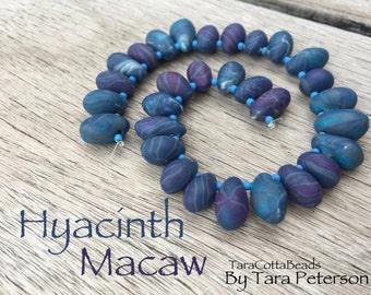Polymer Clay Beads, Handmade Polymer Clay Teardrop Beads, Denim Purple Beads, OOAK Polymer Clay Bead Set, Hyacinth Macaw Beads, Artisan Clay