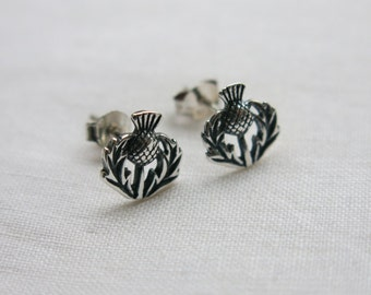 Silver Scottish thistle stud earrings