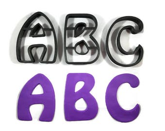 Alphabet A - Z Cookie Cutters - Letter A to Z Fondant Cutters - Letters Cupcake Toppers