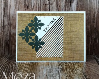 Handmade Thank You Card - Gold and Black