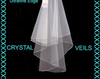 Wedding Veil - Ultrafine High Lustre Edge 2 tier shoulder length Pale Ivory Veil
