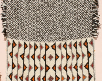 Wall Hanging, Wall Tapestry, Blanket, Throw Rug 4x5, Black White Tapestry, Kilim Rug, Diamonds Triangles Zig Zag Lines, Bedouin Tribal Rug