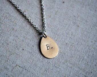 "The ""Droplet"" Necklace - Hand Stamped Inital Necklace"