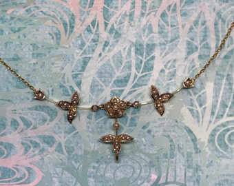 Antique Victorian Seed Pearl Necklace in 10k Gold