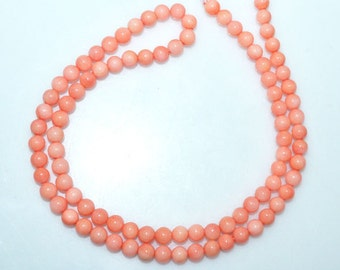 1 Strand Blush Pink Coral Smooth Round Beads 20 Inch Strand ,Coral Smooth Round Beads , Smooth Round Beads , 5 mm - MC994