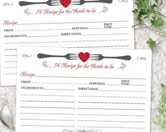 "Printable Forked Heart Recipe Card, Bridal Wedding Shower, 6""x4"" JPG Instant Download"