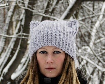 Chunky Crochet Cat Ear Hat / Pussy Hat /Crochet Gray Cat Hat / Kitty Hat / Cat Beanie