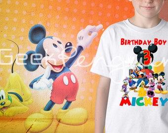 Mickey Mouse Clubhouse Shirt, Custom Birthday Shirt, Custom Name and Age, Boy and Girl