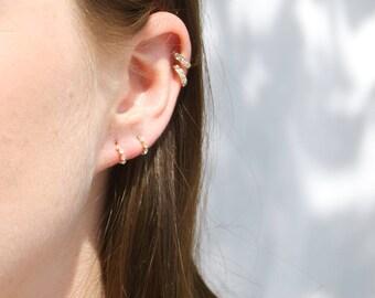 Tiny cz studs - cz - gold stud earrings - tiny gold studs - tiny cz - tiny hoop studs - tiny gold earrings - half hoop studs - I34876