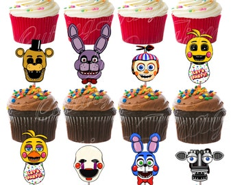 Five Nights At Freddy's Cutout Double Sided Cupcake Picks Cake Toppers 12 pcs