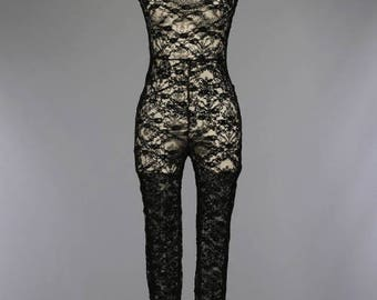 Sleeveless High Neck Lace Jumpsuit/Black Lace Catsuit/Turtleneck Sleeveless Black Jumpsuit/ + Colors )