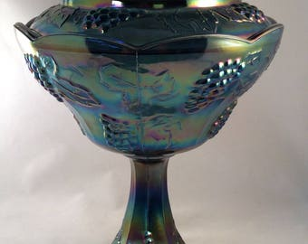 Vintage Indianna Blue Carnival Glass Grape Harvest Compote with Lid