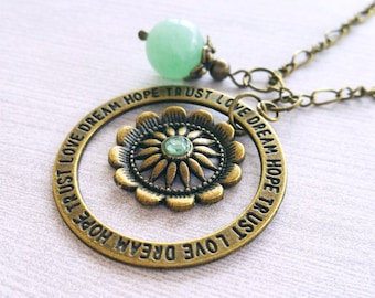 Circle of Life Necklace / Spinning Necklace / Green Adventurine Bead Necklace / Bronze Necklace / Motivational Necklace