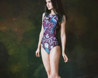 Sexy one piece swimsuit, Bathing suits women Swim suit, Swim wear, Retro swimsuit, Modest girl swimwear, 70s swim suit BIRDS (purple)