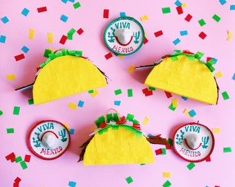 Mini taco pinata, Taco pinata, Fiesta decoration, Taco party, Mini pinata, Taco decor, Cinco de Mayo, Mexican party, SET OF 3