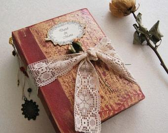 "Red and Gold wedding guest book, Polaroid photo album, fairytale wedding, rustic wedding album, anniversary album, travel journal, 8.5x6.5"""