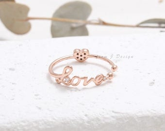 CZ Accent Script LOVE with Small Heart Open Band Ring, Double Sided Ring