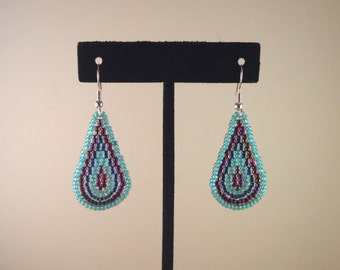 Seed Bead Earrings Teal Green and Magenta TearDrop