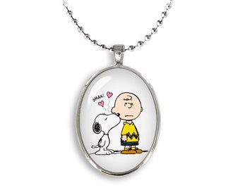 Snoopy Oval Pendant Snoopy and Charlie Brown Necklace Snoopy Jewelry Cosplay Fangirl Fanboy