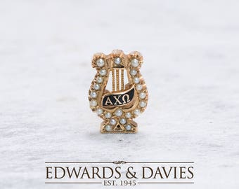 Alpha Chi Omega Fraternity Pearl Pin Brooch | Pearl Pin Brooch | Gold Fraternity Lapel Pin  | Antique Jewelry | Antique Jewellery | Brooch