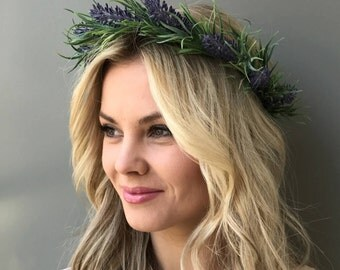 Purple flower crown wedding lavender crown wedding crown flower hair wreath Bridal halo wedding flower crown bridal headband flower halo