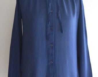 Vintage Blue Shirt Blouse UK S